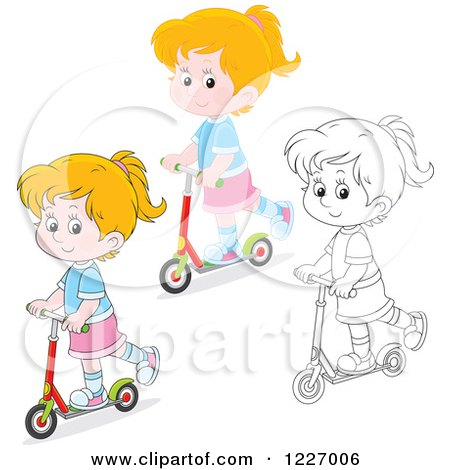 Clipart of an Outlined and Colored Happy Riding a Scooter - Royalty Free Vector Illustration by Alex Bannykh