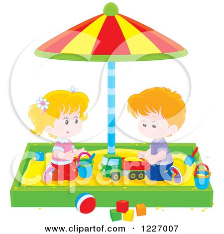 Clipart of a White Girl and Boy Playing in a Sand Box - Royalty Free Vector Illustration by Alex Bannykh