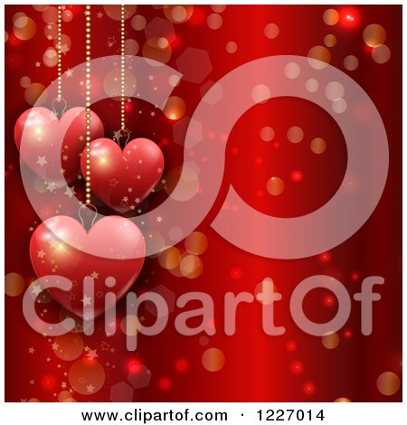 Clipart of a Red Valentines Day Background with Suspended Hearts Flares and Stars - Royalty Free Vector Illustration by KJ Pargeter