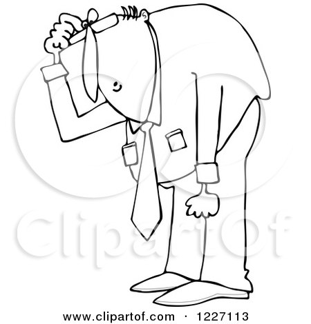 Clipart of an Outlined Businessman Bending over to Look at Something - Royalty Free Vector Illustration by djart