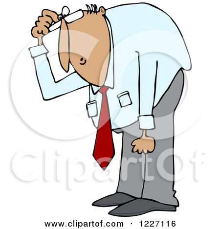 Clipart of a Hispanic Businessman Bending over to Look at Something - Royalty Free Vector Illustration by djart
