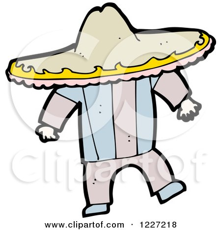 Clipart of a Mexican Man Wearing a Sombrero - Royalty Free Vector Illustration by lineartestpilot