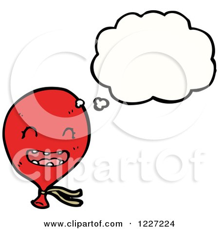 Clipart of a Thinking Red Party Balloon - Royalty Free Vector Illustration by lineartestpilot