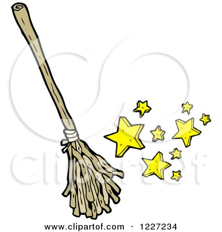 Clipart of a Magic Broom - Royalty Free Vector Illustration by lineartestpilot