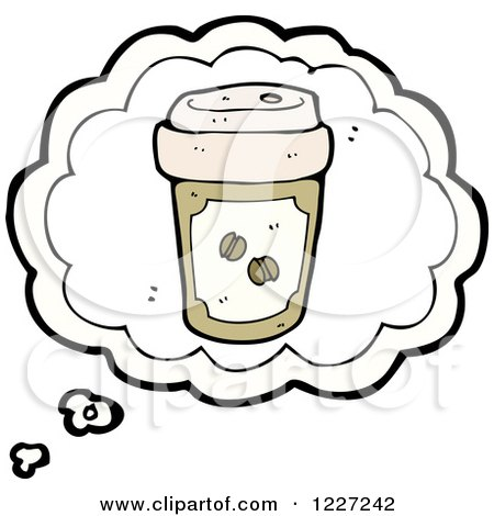 Clipart of a Coffee Cup Thought Bubble - Royalty Free Vector Illustration by lineartestpilot