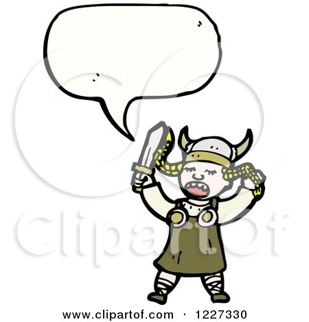 Clipart of a Talking Viking Girl - Royalty Free Vector Illustration by lineartestpilot