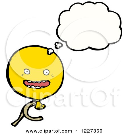 Clipart of a Thinking Yellow Party Balloon - Royalty Free Vector Illustration by lineartestpilot