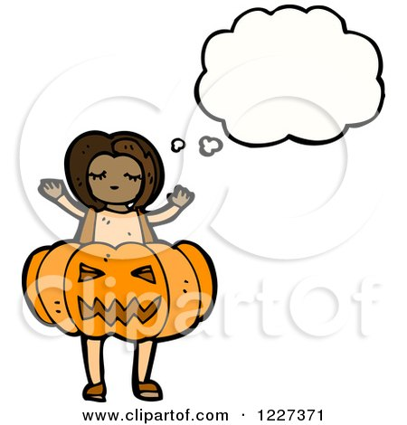Clipart of a Thinking Girl in a Pumpkin Costume - Royalty Free Vector Illustration by lineartestpilot