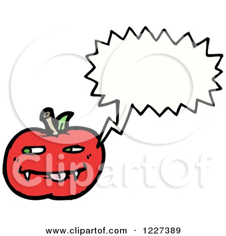 Clipart of a Talking Apple with Fangs - Royalty Free Vector Illustration by lineartestpilot