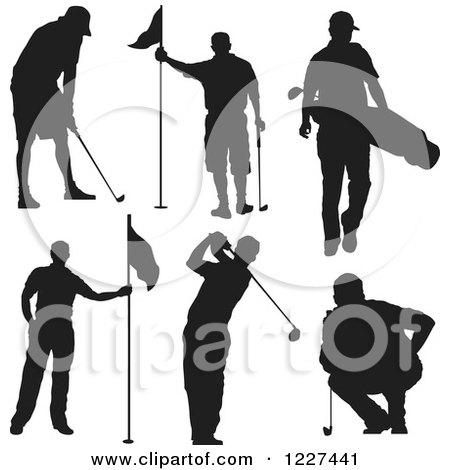 Clipart of a Silhouetted Man in Different Golf Poses - Royalty Free Vector Illustration by Andy Nortnik