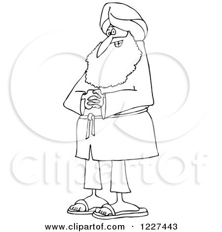 Clipart of an Outlined Happy Sikh with Clasped Hands - Royalty Free Vector Illustration by djart