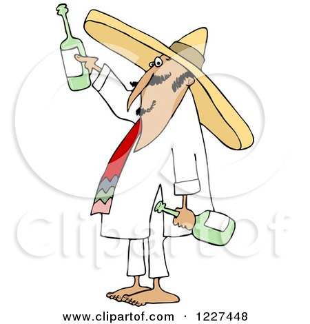 Clipart of a Mexican Man Wearing a Sombrero and Toasting - Royalty Free Vector Illustration by djart