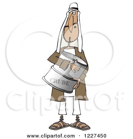 Clipart of an Arab Man Holding a Crude Oil Barrel - Royalty Free Illustration by djart