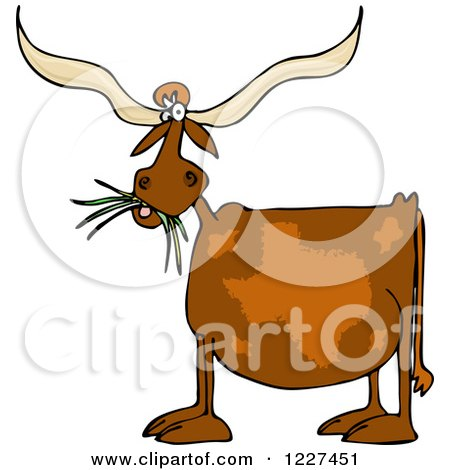 Clipart of a Texas Longhorn Cow Eating Grass - Royalty Free Vector Illustration by djart