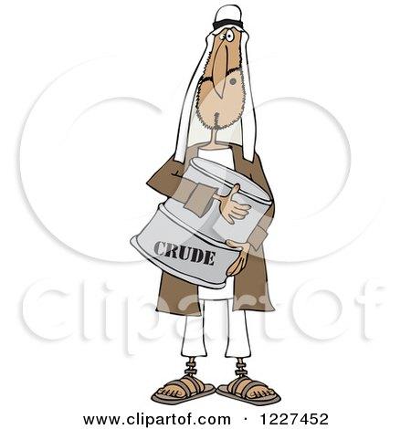 Clipart of an Arab Man Hugging a Crude Oil Barrel - Royalty Free Vector Illustration by djart