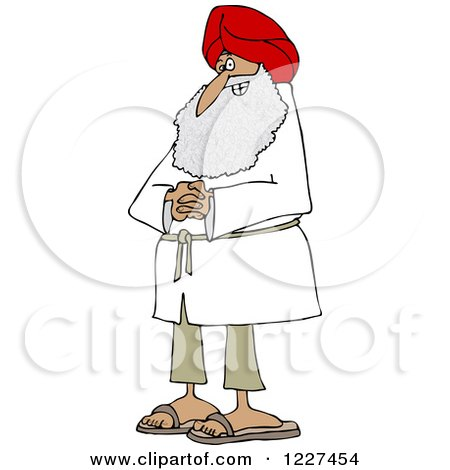 Clipart of a Happy Sikh with Clasped Hands - Royalty Free Vector Illustration by djart