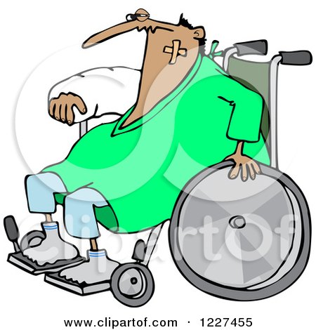 Clipart of an Injured Accident Prone Man in a Wheelchair - Royalty Free Vector Illustration by djart