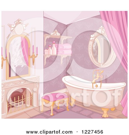 Clipart of a Luxurious Pink Castle Bathroom - Royalty Free Vector Illustration by Pushkin