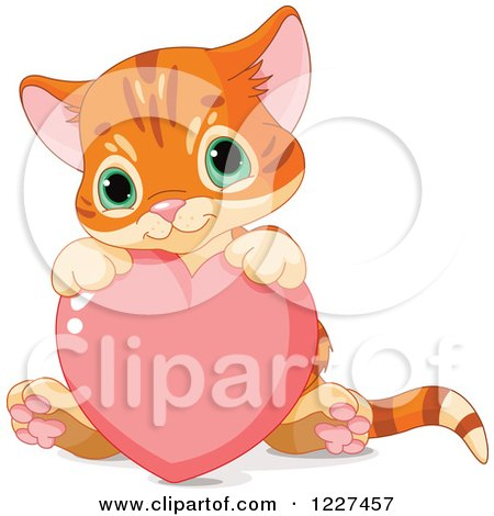 Clipart of a Cute Tabby Ginger Kitten Sitting with a Valentine Heart - Royalty Free Vector Illustration by Pushkin