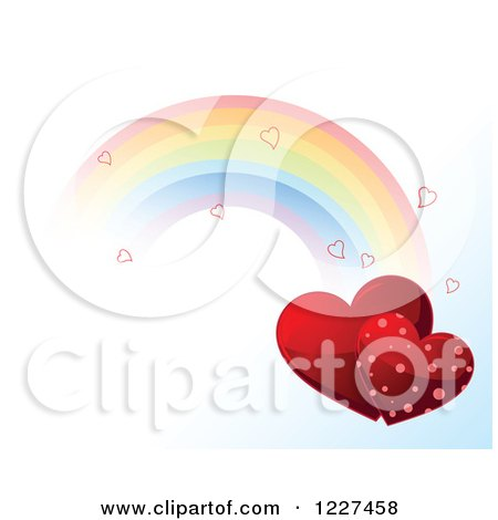 Clipart of a Rainbow with Hearts in a Gradient Sky - Royalty Free Vector Illustration by Pushkin
