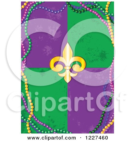 Clipart of a Mardi Gras Background of Distressed Tiles a Fleur De Lis and Beads - Royalty Free Vector Illustration by Pushkin