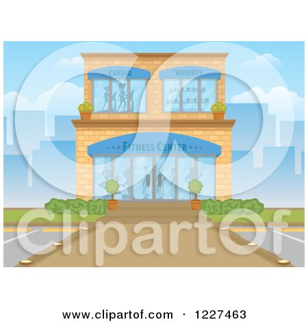 Clipart of a Gym Fitness Center Building Exterior in a City - Royalty Free Vector Illustration by Character Market