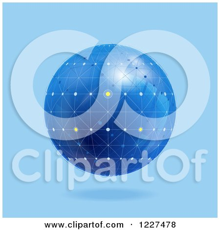 Clipart of a 3d Floating Blue Network Globe - Royalty Free Vector Illustration by elaineitalia