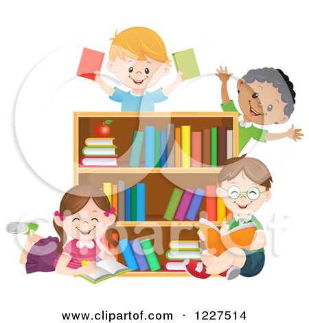 Royalty Free Clipart Illustration Of Happy Diverse Children Reading By