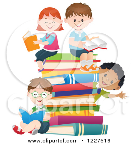 Clipart of Happy Diverse Children Reading on a Stack of ...