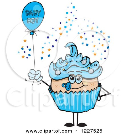 Clipart of a Blue Cupcake with a Baby Boy Balloon - Royalty Free Vector Illustration by Dennis Holmes Designs