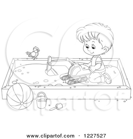 Clipart of an Outlined Bird Watching a Boy Play in a Sand Box - Royalty Free Vector Illustration by Alex Bannykh