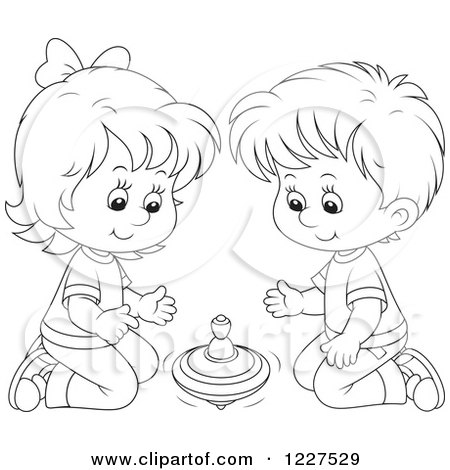 Clipart of an Outlined Boy and Girl Playing with a Toy Top - Royalty Free Vector Illustration by Alex Bannykh