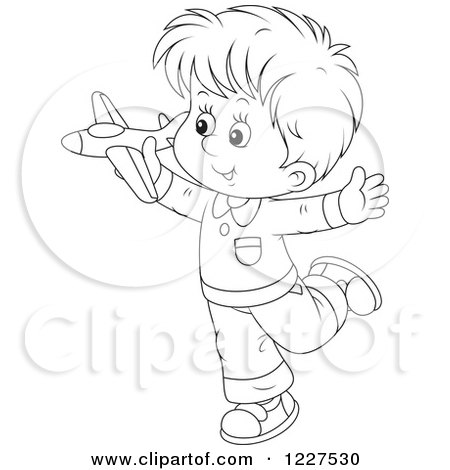 Clipart of an Outlined Boy Playing with a Toy Plane - Royalty Free Vector Illustration by Alex Bannykh
