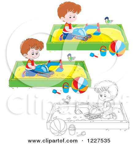 Clipart of Outlined and Colored Birds Watching Boys Play in Sand Boxes - Royalty Free Vector Illustration by Alex Bannykh
