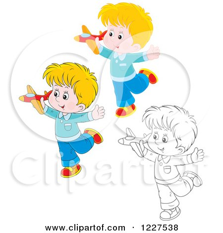 Clipart of Outlined and Colored Boys Playing with Toy Planes - Royalty Free Vector Illustration by Alex Bannykh