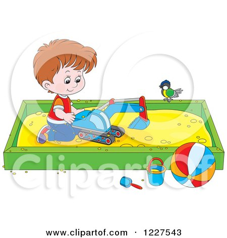 Clipart of a Bird Watching a Caucasian Boy Play in a Sand Box - Royalty Free Vector Illustration by Alex Bannykh