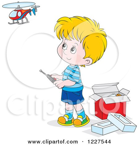 Clipart of a Caucasian Boy Playing with a Remote Controlled Helicopter - Royalty Free Vector Illustration by Alex Bannykh