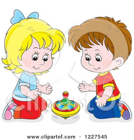 Clipart of a Caucasian Boy and Girl Playing with a Toy Top - Royalty Free Vector Illustration by Alex Bannykh