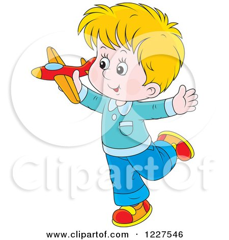 Clipart of a Caucasian Boy Playing with a Toy Plane - Royalty Free Vector Illustration by Alex Bannykh