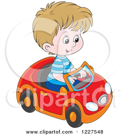 Clipart of a Caucasian Boy Playing in a Toy Car - Royalty Free Vector Illustration by Alex Bannykh