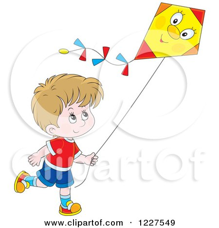Clipart of a Caucasian Boy Flying a Kite - Royalty Free Vector Illustration by Alex Bannykh