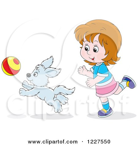 Clipart of a Girl and Puppy Dog Playing with a Ball - Royalty Free Vector Illustration by Alex Bannykh