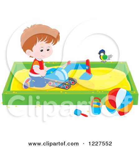 Clipart of a Bird Watching a Boy Play in a Sand Box - Royalty Free Vector Illustration by Alex Bannykh