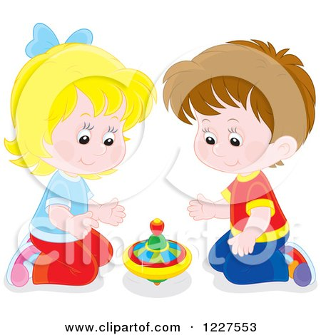 Clipart of a Boy and Girl Playing with a Toy Top - Royalty Free Vector Illustration by Alex Bannykh