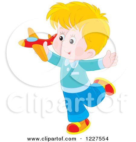 Clipart of a Blond Boy Playing with a Toy Plane - Royalty Free Vector Illustration by Alex Bannykh