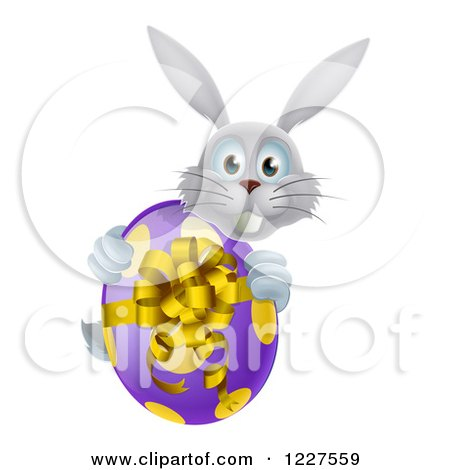 Clipart of a Gray Bunny Holding an Easter Egg - Royalty Free Vector Illustration by AtStockIllustration