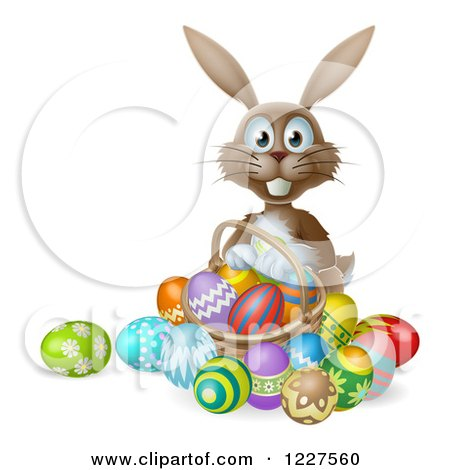 Clipart of a Brown Bunny with Easter Eggs and a Basket - Royalty Free Vector Illustration by AtStockIllustration