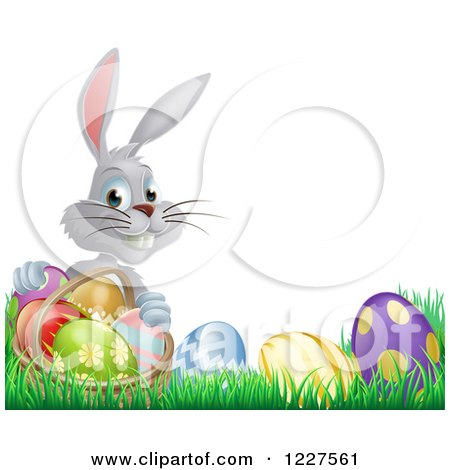 Clipart of a Gray Bunny Holding Basket by Easter Eggs - Royalty Free Vector Illustration by AtStockIllustration