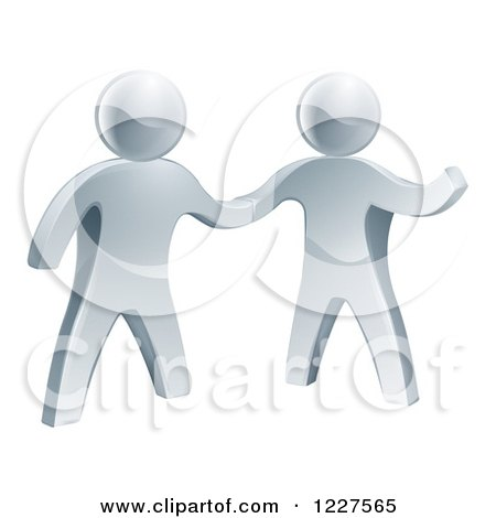 3d Silver Men Shaking Hands Posters, Art Prints