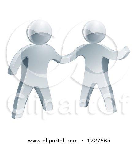 Clipart of 3d Silver Men Shaking Hands - Royalty Free Vector Illustration by AtStockIllustration